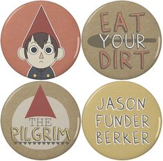 """Over the Garden Wall Wirt 2.25"""" Pinback Buttons or Magnets (4 Pack) // Particularly the Jason Funder Berker badge"""