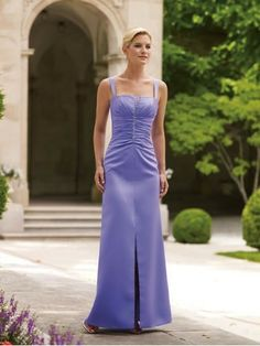 Slim Satin Notched Neckline Fitted Bodice A-line Bridesmaids Dress