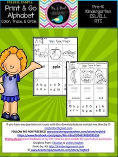 Alphabet Print & Go Freebie SampleLetter A & B