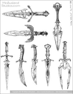 Magic Daggers group 2 by William McAusland,RPG Art, Bookcovers, Concept Art, i… – Art Drawing Tips Dagger Drawing, Knife Drawing, Sword Drawing, Knife Tattoo, Sword Tattoo, Dagger Tattoo, Anime Weapons, Fantasy Weapons, Armes Concept