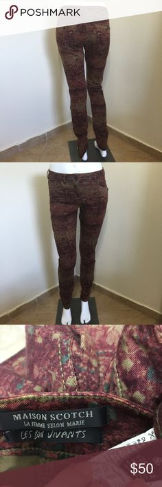 MAISON SCOTCH AND SODA Fall Print Jeans 26 L32 Label-Maison Scotch Les Bons Viviant  (scotch and soda) Style- Classic Skinny Jean Leggings, in a super cool mottled fall colors print Size- 26 Shown on a size 2 mannequin Will fit a 2 4, Stretch to fabric Measurements- W-28 Hip-38 Length- 31 Rise- 9 Color-Wines, Army Greens Mottled Colors Print Fabric- 97% Cotton, 3% Lycra Condition- Lightly if ever worn, mint condition, no issues, snags, pics or smells Origin-China Scotch & Soda Jeans Skinny