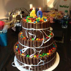 birthday 3 tier kit kat and m cake 40th Cake, 40th Birthday Cakes, 40th Birthday Parties, Birthday Celebration, Birthday Cake For Brother, Hubby Birthday, Cupcakes, Cupcake Cakes, Breakfast Cake