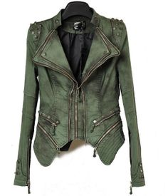 Women military khaki denim jacket perfect by transparentcreation, $190.00