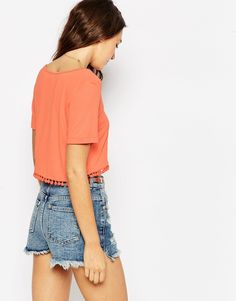 <3 Love: ASOS Coral Cropped Shirt with Tassels