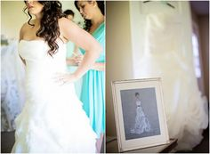 Bride in Gown with Sketch of Dress