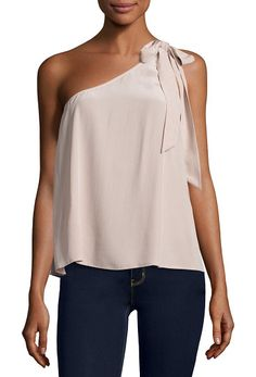 """Romana one-shoulder silk blouse by Joie. Joie """"Romana"""" blouse with bow detail. One shoulder neckline. Sleeveless. Relaxed silhouette. Straight hem. Silk. Impo..."""