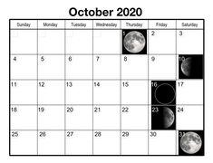 October 2020 Blue Moon Phase Calendar