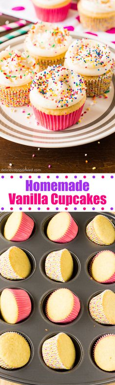 Homemade Vanilla Cupcakes with vanilla buttercream frosting and SPRINKLES!: