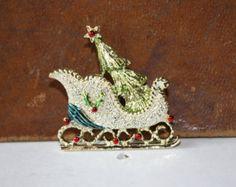 Vintage Gerrys Christmas Sleigh Brooch
