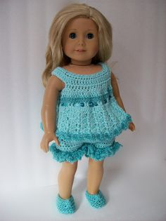 Top resembles the nightie on crochetville. Soft green crocheted by StylinDolls.  I love this!
