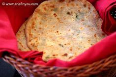 Paneer Paratha - Indian flatbread stuffed with Farmer's Cheese Paratha Recipes, Paneer Recipes, Indian Food Recipes, Vegetarian Recipes, Cooking Recipes, Punjabi Recipes, Indian Dishes, Indian Breads, Cooking