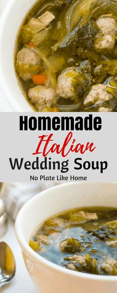 Italian Wedding Soup is a traditional soup made with chicken broth escarole celery onions carrots mini meatballs and chicken bits. This delicious soup is an old family recipe from the old country! Pin for later. Italian Meatball Soup, Italian Soup, Italian Dishes, Italian Meatballs, Beef And Pork Meatballs, Tasty Meatballs, Mini Meatballs, Escarole Recipes, Escarole Soup