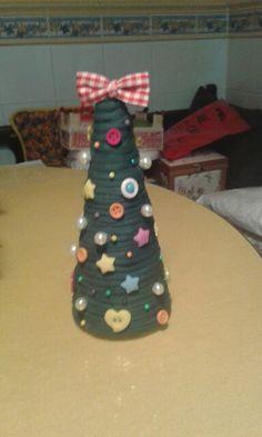 Arbolito de navidad de trapillo botones y perlitas