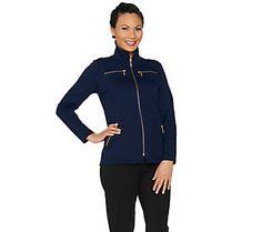 Bob Mackies Ponte Knit Jacket With Zipper Detail Plus Dresses Nice Dresses Bob Mackie