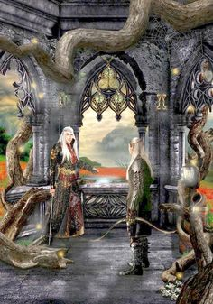 Thranduil and Legolas in Mirkwood Palace. By betka on @deviantart.