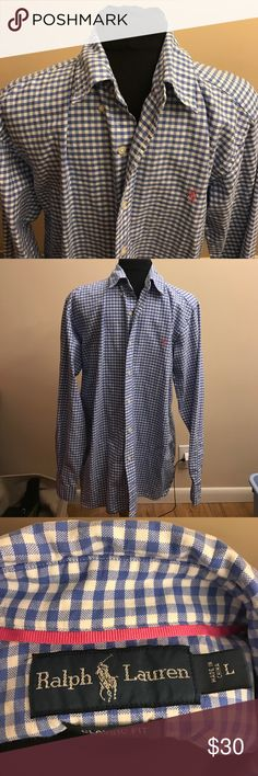 Ralph Lauren men's button down Classic fit button down in a size large. Blue and white check shirt in EUC. Polo by Ralph Lauren Shirts Casual Button Down Shirts