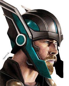 Chris Hemsworth from Thor, Ragnarok. Superheroes and Villains in and pencil Drawings. By Jasmina Susak. Avengers Drawings, Avengers Art, Marvel Art, Marvel Heroes, Drawing Cartoon Characters, Marvel Characters, Cartoon Drawings, Pencil Drawings, 3d Drawings