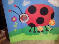 Lady Bug Birthday Party Ideas..  Activities.. Photo area made from science display board... DIY