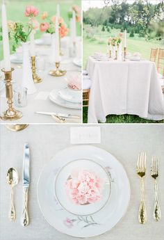 A few of Something Borrowed Portland's items in use for an inspiration shoot shot by Jon Duenas.  Brass candle holders, china and milk glass bud vases.