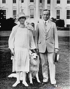President Calvin Coolidge and Grace his wife with Rob Roy their white Collie.
