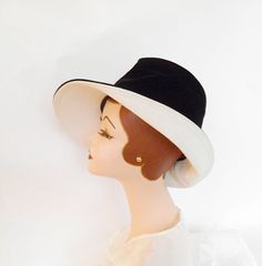 1960s Mr John bucket hat vintage tilt black by TheVintageHatShop, $38.00