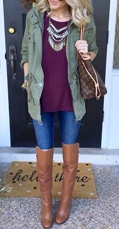 Army green and maroon