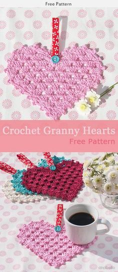 Crochet Granny Square Ideas Granny Hearts Crochet free pattern - This Granny Hearts Crochet Free Pattern is a go to decoration for Valentines day! Make one now with the free pattern provided by the link below! Crochet Granny, Crochet Motif, Crochet Doilies, Crochet Flowers, Crochet Hooks, Crochet Patterns, Crochet Hearts, Holiday Crochet, Crochet Gifts
