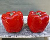 Vintage Salt and Pepper Shakers, Brad Keeler, Red Peppers, Ceramic, California Artware,  Red, 1956, Collector, Home  Decor, Kitchenware
