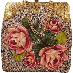 Vintage Floral Needlepoint Beaded Purse With Gold Coins and Cute Dog on Back by Jolles Original for Neusteters