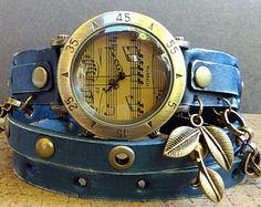 Blue wrap watch, Women's watch, Leather Bracelet Watch, Music watch, leather…