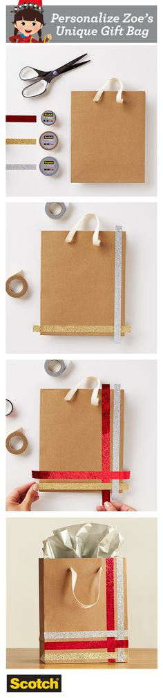Gift bags have a bad reputation for being boring - but they don't need to be! Use Scotch Expressions Tape to embellish and get your gift to stand out.