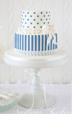 Blue and White Vertical Striped Tier Birthday Cake
