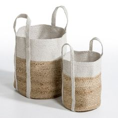 A stunning two-tone basket with a hand-crafted appearance. 80% jute, 20% metallic thread.                 Size 1: Height. 35cm x 30cm diameterSize 2: Height. 46cm x 43cm diameter
