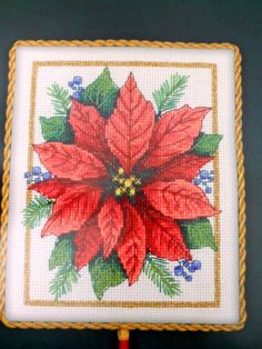 Poinsettia Elegance Counted Cross Stitch Kit Gold Nuggets Dimensions Aida Cloth #Dimensions