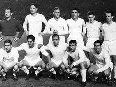 Real Madrid (60s legendary team):  Juanito Alonso, Marquitos, Santamaría, Lesmes, Santiesteban, Zárraga, Kopa, Rial, Di Stéfano, Puskas & Gento.