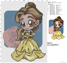 Chibi Belle with book cross stitch pattern (click to view)