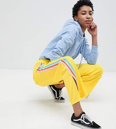 e0fd8864 ASOS Tall ASOS DESIGN Tall Trackpants with Rainbow Side Stripe and Vent  Detail Rainbow Pages,