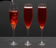 Holiday Cocktails Under 150 Calories: Skinny Kir. Traditionally, a Kir Royal can pack up to 200 cals per glass thanks to Creme de Cassis--a rich blackcurrant liqueur. Replace it in this Champagne-based drink with a splash of cran or pomegranate juice, nixing calories but not flavor. #SelfMagazine