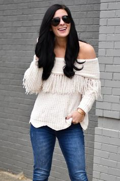 Gal About Town by Lynlee Poston: gal about town by lynlee poston wearing fringe off the shoulder sweater