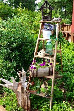Marvelous Vertical Ladder Garden Ideas to Add Art to Outdoor Space - My Garden Decor List