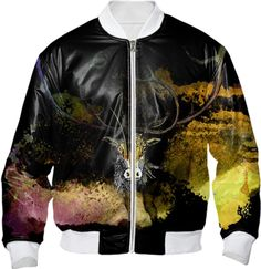 CARABOU I, Bomber Jacket no.2 created by atelier COLOUR-VISION | Print All Over Me #art #wearableart  #clothing #clothes #custommade #women #men #bomberjacket #jacket #bomber #fashion #coolstuff #printalloverme #paom #piaschneider #black #animals #watercolor