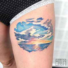 Watercolor sunset over the ocean - Tattoo MAG Tribal Tattoos, Beachy Tattoos, Sunset Tattoos, Ocean Tattoos, Tattoos Skull, Dope Tattoos, Body Art Tattoos, New Tattoos, Tattoos For Guys