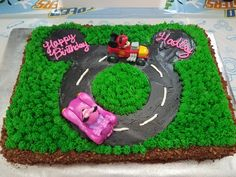 Mickey and the Roadster racers sheet cake for niece's 4th birthday