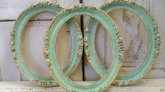Oval wood wall frames grouping distressed sea by AnitaSperoDesign, $180.00