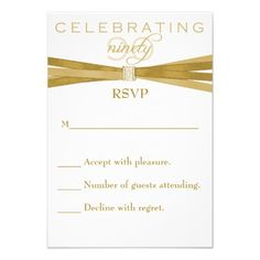 Elegant 90th Birthday Party Invitations RSVP Card
