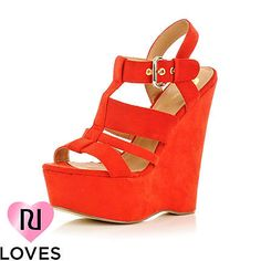 bright red wedge sandals - wedges - shoes / boots - women - River Island