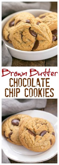 Brown Butter Chocolate Chip Cookies - with a boost of deliciousness from nutty b. Brown Butter Chocolate Chip Cookies - with a boost of deliciousness from nutty brown butter and dark brown sugar! Delicious Cookie Recipes, Best Cookie Recipes, Brownie Recipes, Chocolate Recipes, Yummy Treats, Sweet Treats, Dessert Recipes, Bar Recipes, Cooking Recipes
