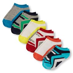 Boys Boys Athletic Mixed Print Ankle Socks 6-Pack - Red - The Children's Place