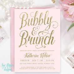 Blush Pink & Gold Glitter Bubbly and Brunch, Bridal Shower Invitation - Digital or Printed - Light Pink Pastel Party Invite Hey, I found this really awesome Etsy listing at https://www.etsy.com/listing/226246627/blush-pink-gold-glitter-bubbly-and