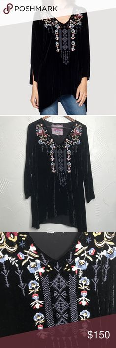 Johnny Was Black Velvet Embroidered Tunic In good condition! Johnny Was Tops Tunics